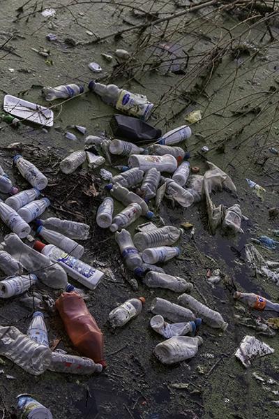 023 Plastic waste in the lake of Shkodra, Albania, in 2015