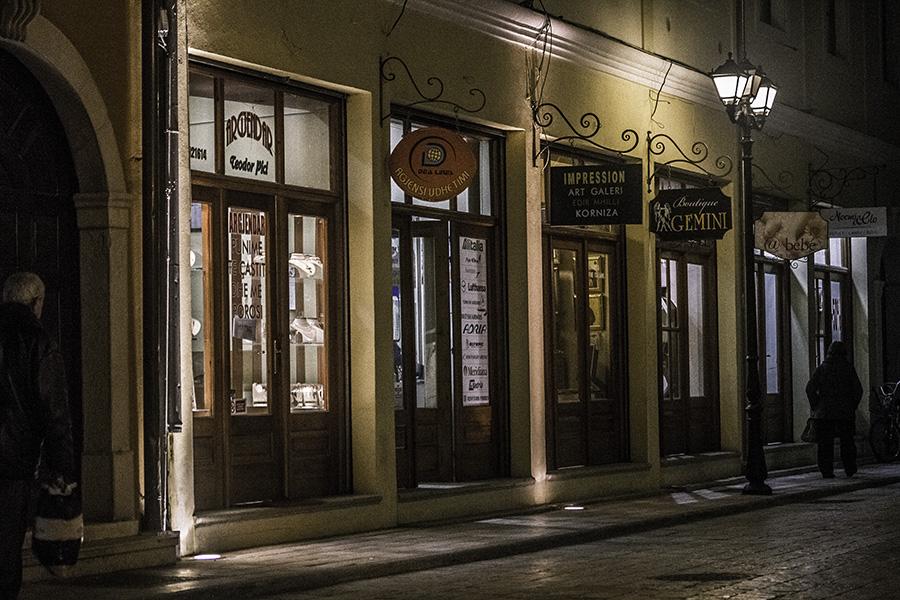026 Street at night in Shkodra, Albania, in 2015