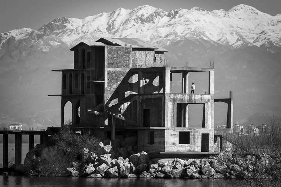 033 Unfinished construction along the lake of Shkodra, Albania, in 2015