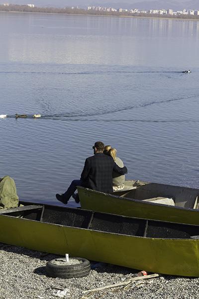 028 Couple on the bank of the lake of Shkodra, Albania, 2015
