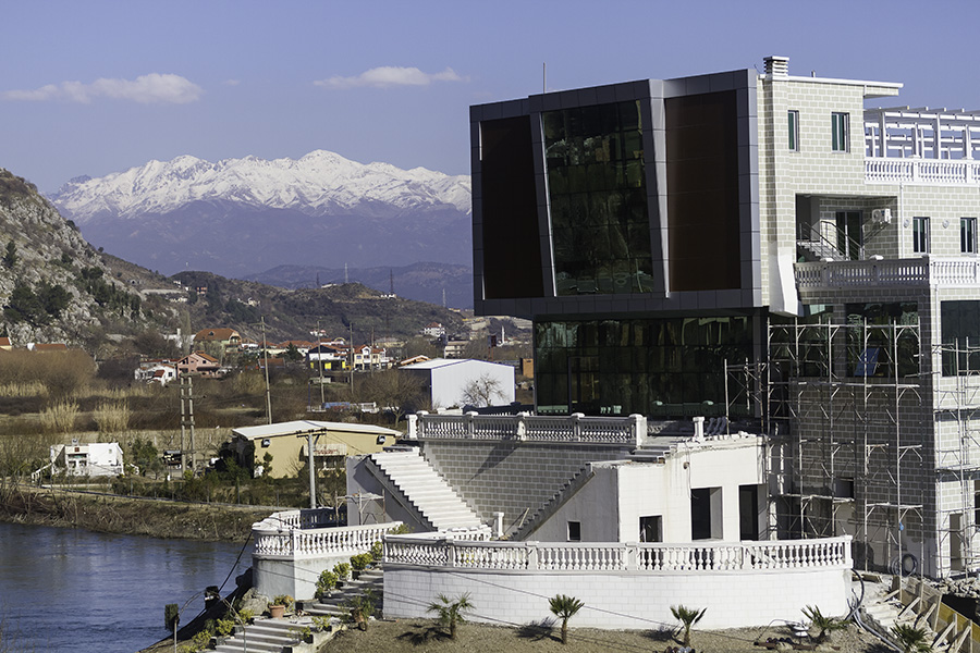 016 New construction on the waterfront in Shkodra, Albania, 2015
