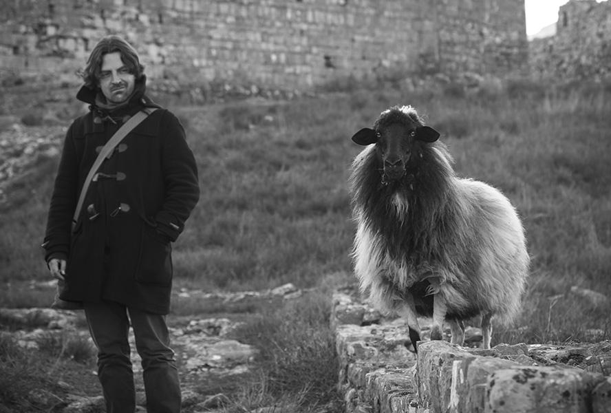 037 Visitor and sheep, Rozafa Castle of Shkodra, Albania, 2015