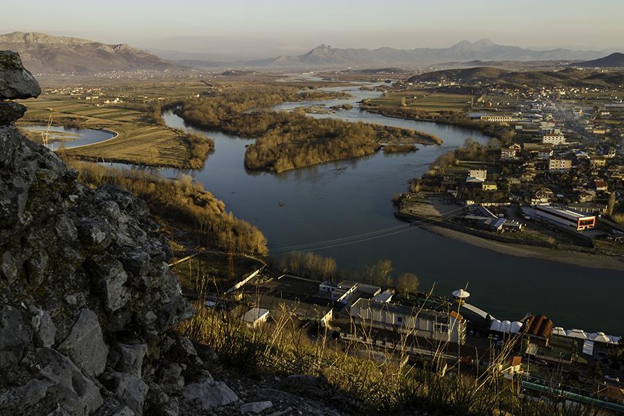 015 Buna River in Shkodra, Albania, 2015, as seen from Rozafa Castle