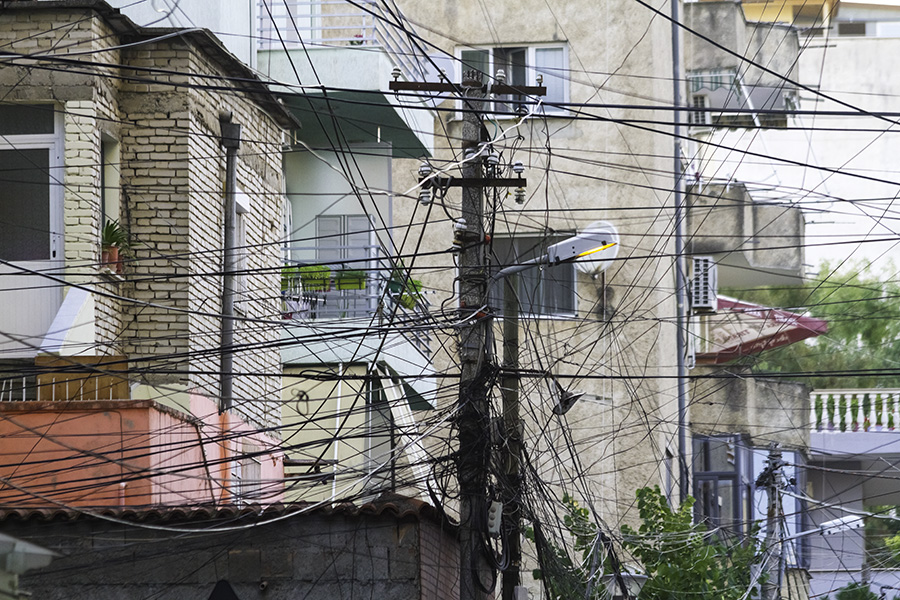 07 Utility pole in Tirana, Albania, in 2015