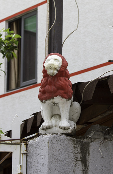 27 Protective statue of a lion in Tirana, Albania, in 2015