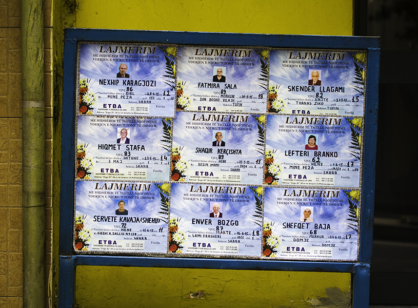 18 Death notices in Tirana, Albania, in 2015