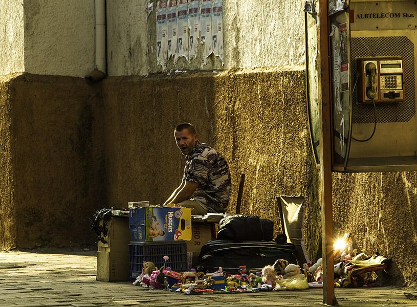 19 Street vendor at sunset in Tirana, Albania, in 2014