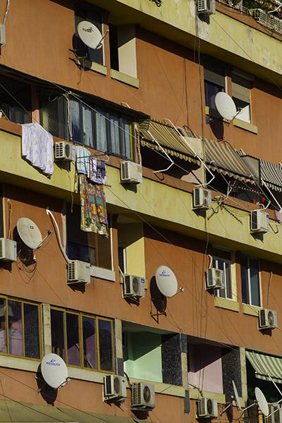 25 Detail, building in Tirana, Albania, in 2014