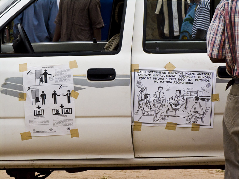 13 Posters on voter education in Buturere, Bujumbura Rural Commune, Burundi, in 2005