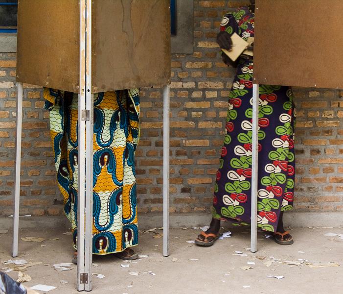 19 Women in voting booths in Buturere, Bujumbura Rural Commune, Burundi, in 2005