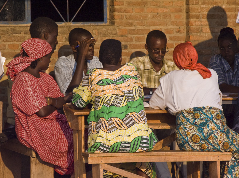 28 Completing vote count in front of party representatives in Buterere, Bujumbura Rural Commune, Burundi, in 2005