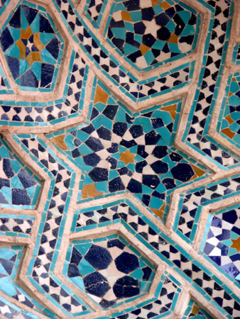 Cut glazed tile, entrance iwan, Jameh Mosque Kerman, Iran