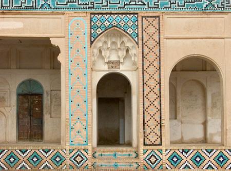 Mahan, Iran: Portico surrounding courtyard, Tomb of Shah Nematollah Vali, Sufi dervish