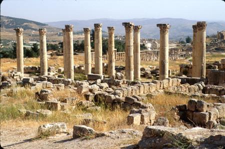 Jerash, Jordan: Columns, Temple of Artemis