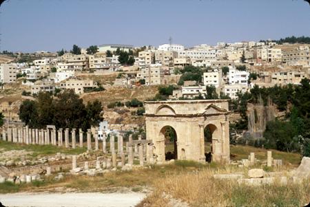 Jerash, Jordan: North Tetrapylon (gate); City of Jerash in background
