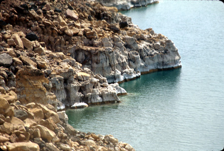 Salt deposits along Dead Sea shore, Jordan
