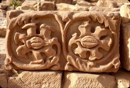 Carved sandstone block Petra, Jordan