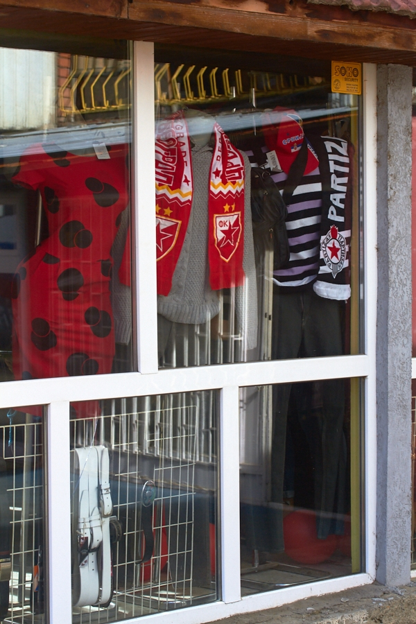 022 Sports shop window in North Mitrovica, Kosovo, in 2016