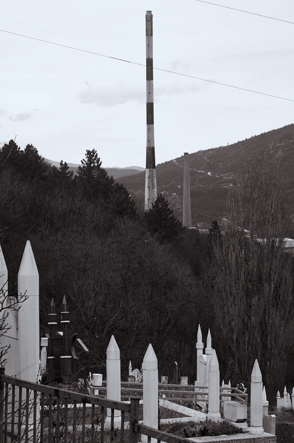 034 Smokestack and cemetary in North Mitrovica, Kosovo, 2016
