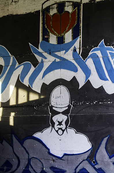 012 Street art on wall of stadium in Prishtina, Kosovo