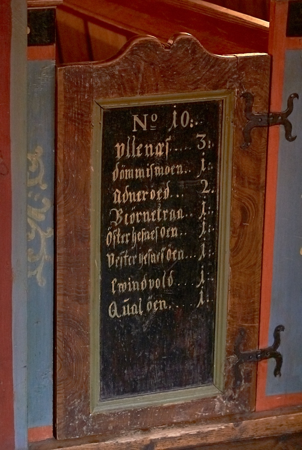 095 Farms inscribed on a pew gate, Fjære Church -- Grimstad, Sørlandet, 2015