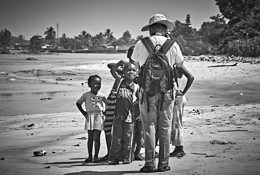 Yang Wang and kids, beach, New Kru Town, Monrovia, Liberia